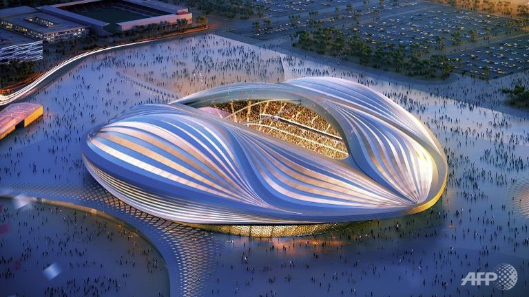 A computer generated graphic of one of the stadiums being built for the 2022 World Cup
