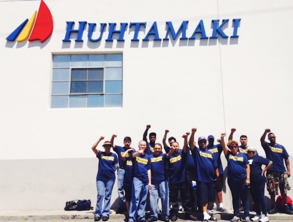 USW members demonstrate at Commerce, California against anti union activity by Huhtamaki the Finalnd based  packaging company