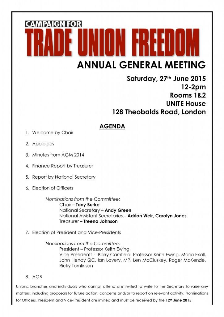 AGM Agenda 2015