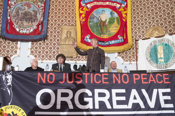 L-R Granville Williams (Truth and Justice Campiagn) Chris Skidmore (Yorkshire Area President, NUM), Joe Rollin (Unite the Union) Authur Critchlow (miner arrested at Orgreave)