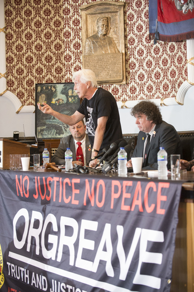 At the Barnsley Headquarters of the NUM, Members of the Orgreave Truth and Justice Campaign release the findinds of the IPCC report in to Orgrave Coking Plant in 1984.  L-R Granville Williams (Truth and Justice Campiagn) Chris Skidmore (Yorkshire Area President, NUM), Joe Rollin (Unite the Union)