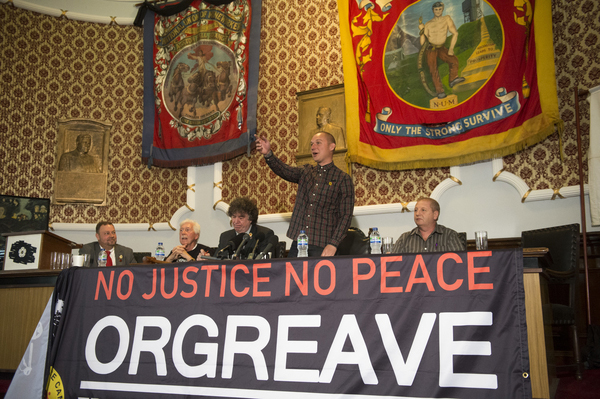 At the Barnsley Headquarters of the NUM, Members of the Orgreave Truth and Justice Campaign release the findinds of the IPCC report in to Orgrave Coking Plant in 1984. L-R Chris Kitchen (President NUM), Granville Williams (Truth and Justice Campiagn) Chris Skidmore (Yorkshire Area President, NUM), Joe Rollin (Unite the Union) Paul Winter (miner arrested at Orgreave)