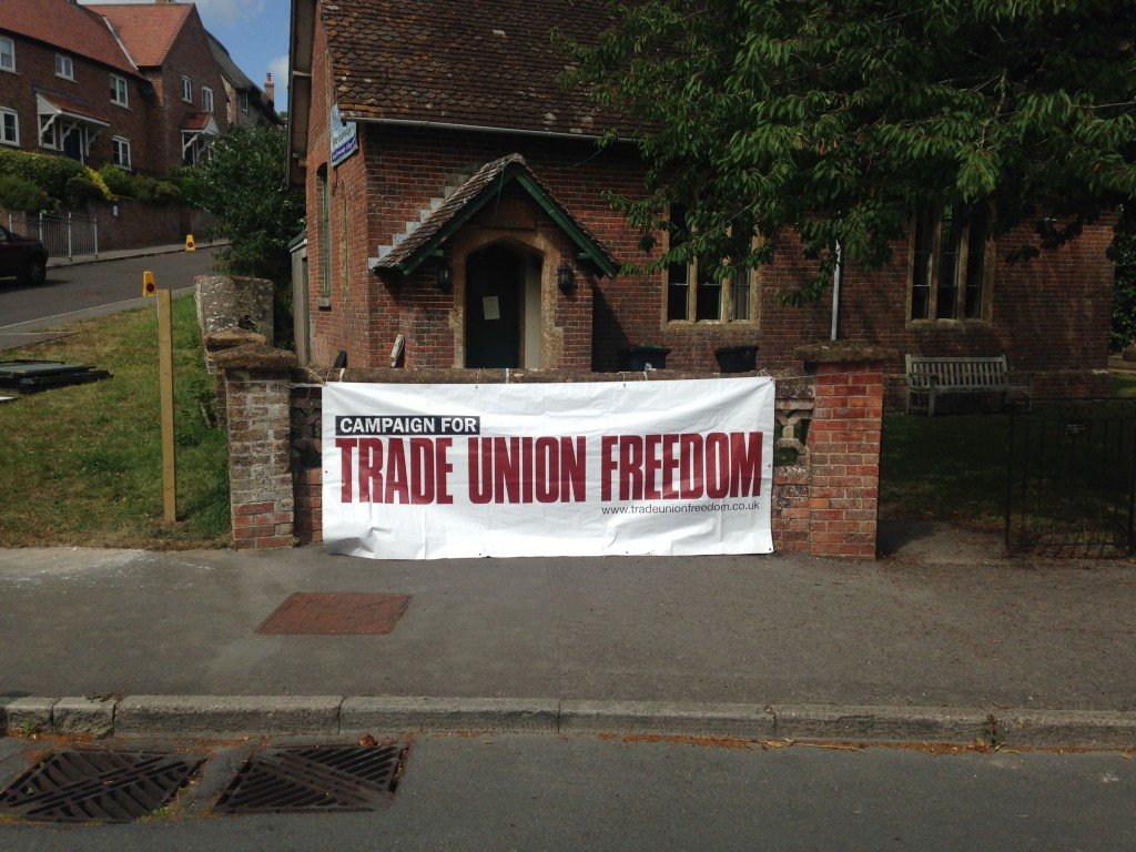CTUF banner at the Village Hall, Tolpuddle. Photo Adrian Weir Studios.