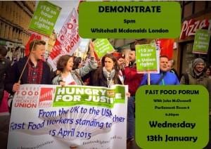 Flyer for demonstration at a London McDonalds.