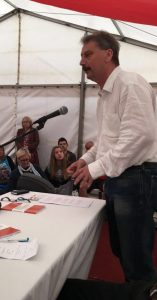 Adrian Weir addressing the CTUF Adrian Weir speaking at the CTUF rally at Tolpuddle on the new generation of trade deals