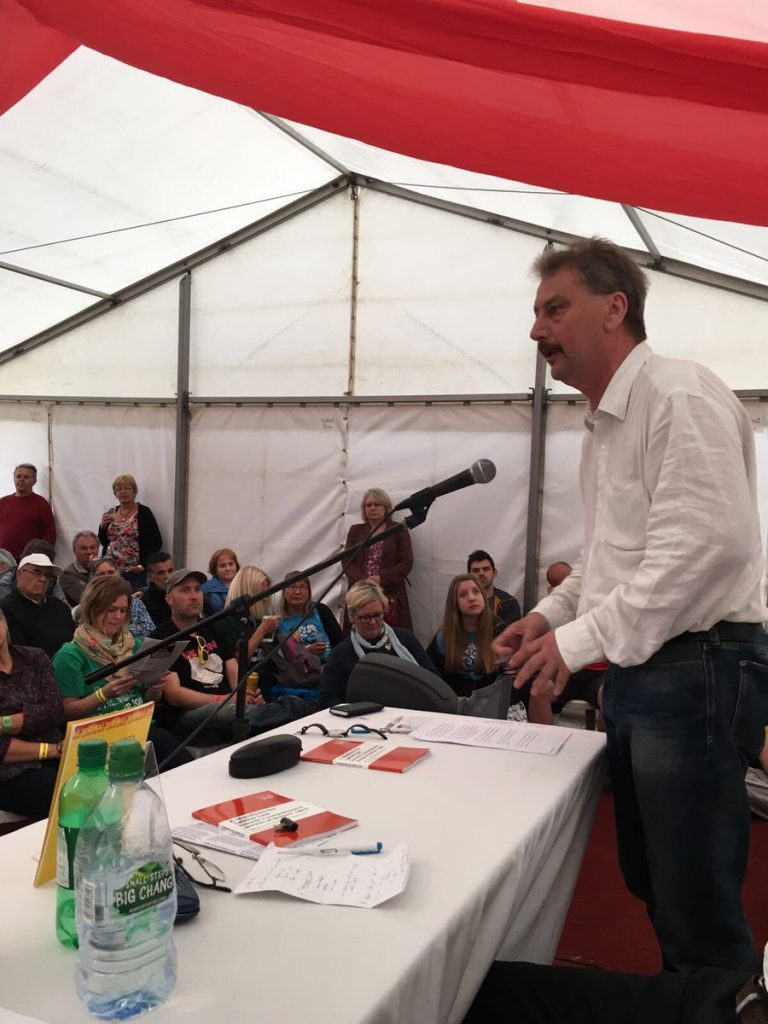 Adrian Weir speaking at the CTUF- IER Rally at Tolpuddle