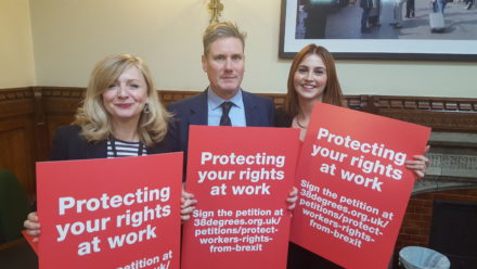 MPs Tracy Brabin, Keir Starmer and Melanie Onn launch the Workers Rights Bill.